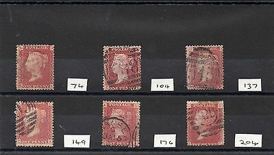 GB 6 x 1858 1d reds good used.