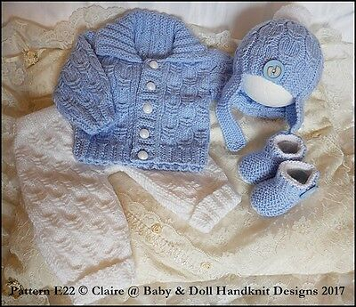 0646b3808 BABYDOLL HANDKNIT DESIGNS Knitting Pattern E22 Pram Set 16-22