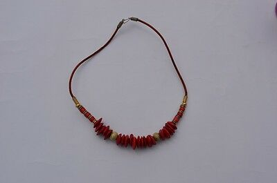 Vintage 1980s ethnic style red and gold necklace