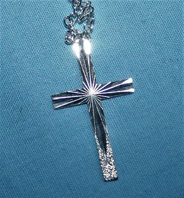 """Silver Cross Pendant On 20"""" Chain - Both Marked .925 - #a118"""