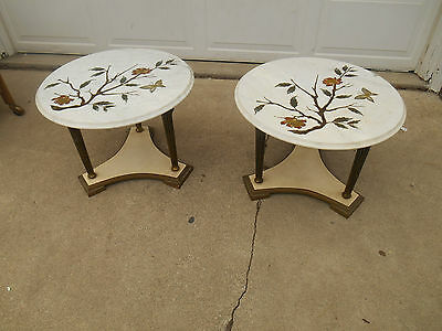 Pair Mid-Century Hollywood Regency Hand Painted Marble Topped End Tables ITALY