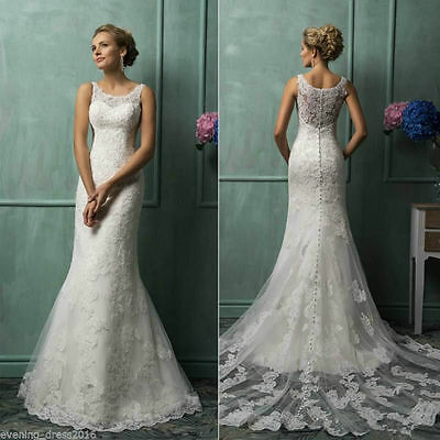 New White/Ivory Lace Bridal Gown Wedding Dress Custom Size 4 6 8 10 12 14 16 18+