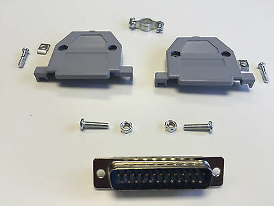DB25 Parallel Port Male Connector Plug with Hood/Set (Solder Terminal)