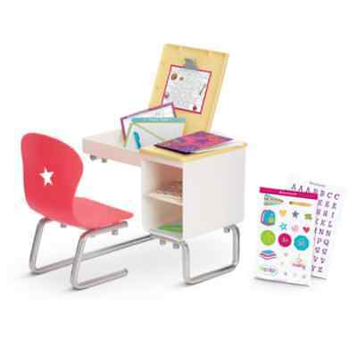 NEW American Girl Truly Me Flip Top School Desk Set COMPLETE w/ All Accessories