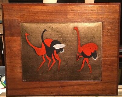 """MID CENTURY ENAMEL ON COPPER OSTRICH MOUNTED ON WOOD VINTAGE WALL HANGING 11x9"""""""