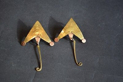 Vintage 1980s abstract design brass and copper earrings