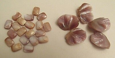 Mother of Pearl SHELL 14 mm x 10 mm Faceted RECTANGLE & Large SCALLOP Beads