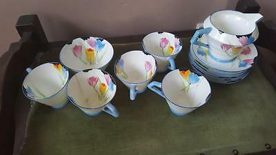 A Rare Handpainted Art Deco Part Teaset By Paragon In The Tulip Pattern