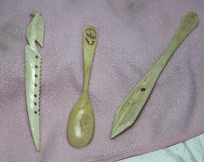 Small Lot of Inuit, Native American Hand Tools and Spoon
