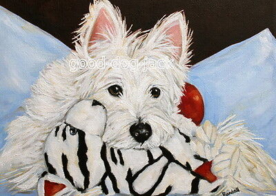 West Highland Terrier WESTIE MATTED PRINT Painting LOST IN THOUGHT Dog RANDALL