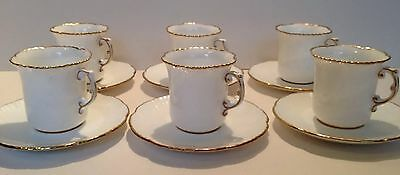 Hammersley White and Gold Coffee Cups and Saucers - Set Of 6