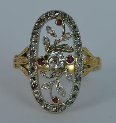 Georgian Old Cut Diamond and Ruby 18ct Gold Cluster Ring d0647