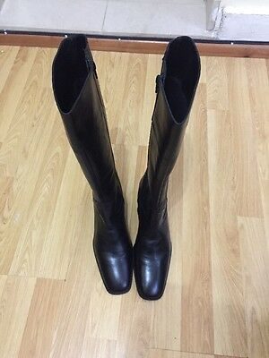 Kaliko Leather Women's Long Ankle Boots Black Size 39 New RRP-£85