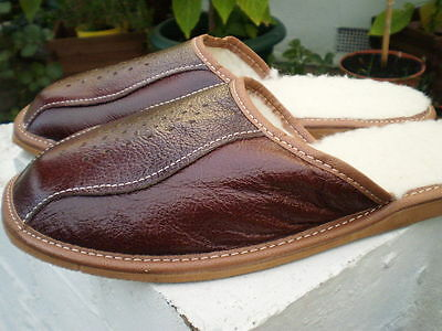 Brand New Men's Leather Slippers, Size 10/44,-