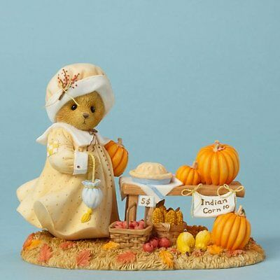 Cherished Teddies Discover Autumns Treasures Bear with Pumpkins Figurine
