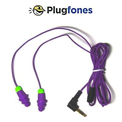 Purple Plugfones Contractor Silicone Ear Plug Earbuds Ear Protection Headphones