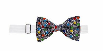 Boys (6 -11 Yrs) Colorful Dots Pre Tied Cotton Bow Tie on Elastic Neckband