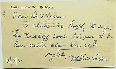 Lafayette Flying Corps Milton Whitely Holden Fighter Pilot Signed Autograph Rare