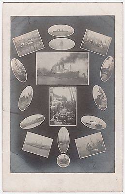 Rppc Mauretania & Other Shipping - Multi Views - Early Postcard V.g. Cond.