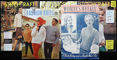 VINTAGE KNITTING/CRAFT/WOMEN'S MAGAZINES x5-50'S/60'S-GREAT CONDITION!!!