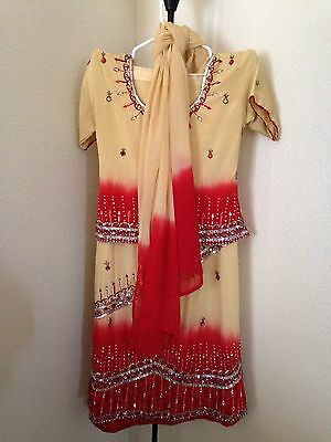 Belly Dancing Tribal Costume India Beaded Rayon 3-Piece Skirt Shirt & Scarf
