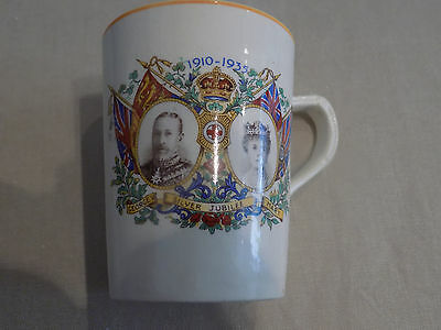 Vintage George and Mary Silver Jubilee mug 1910 - 1935, gold rim