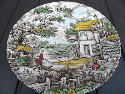 """Myott Plate   'The Hunter'    Hand Painted 10"""" dia  Vintage China GOOD CONDITION"""