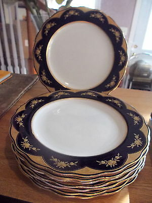 8 Brownfield's China Dinner Plates For TIFFANY & CO-Cobalt &  Encrusted Gold