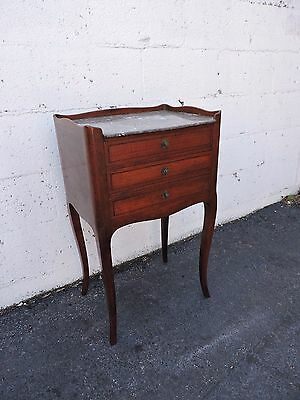 French Walnut Marble Top Inlay Nightstand End Table Side Table 8027