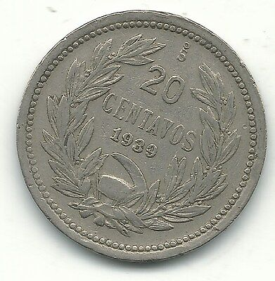 A Nice Higher Grade 1939 S Chile 20 Centavos Coin-Defiant Condor On Rock-Jan158