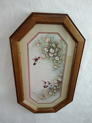 Home Interiors  Octagon '' Hummingbirds & Pink Flowers '' Picture   Gorgeous