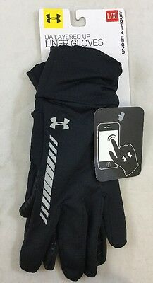 NWD Women's Under Armour Layered Up Liner Gloves Black Size Large/XL (jf)