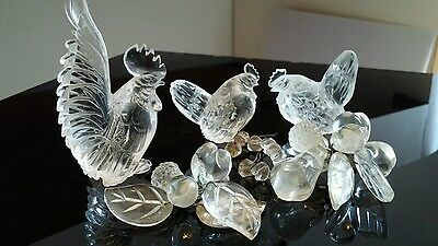 Antique Chinese Rock Crystal Rooster 2 Chicken Hens Old Carved Fruit Nice Detail