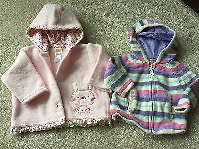 2 X Baby Girls Hooded Cardigans - Age 0-3 Mths