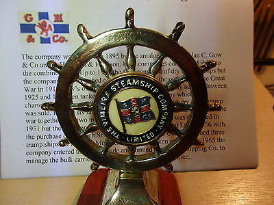 Brass Ships wheel and decal from VIMEIRA STEAMSHIP  Co. Glasgow 1895