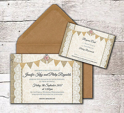 10 x PERSONALISED VINTAGE RUSTIC BUNTING ROSE & LACE WEDDING INVITATIONS, RSVPS