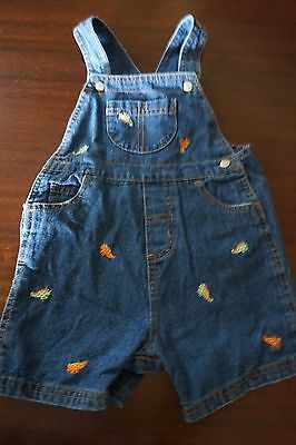 Boy's Starting Out Denim Shorts Overalls Embroidered Lizards Size 24M