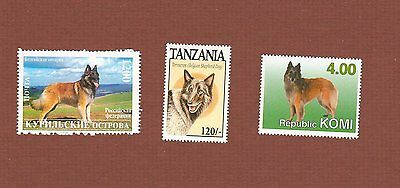Belgian Tervuren dog postage stamps set of 3 MNH