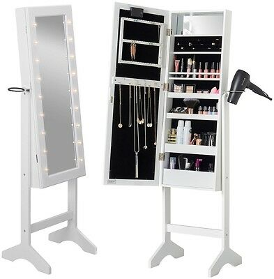 Beautify White LED Floor Standing Mirror Jewellery MakeUp Cabinet