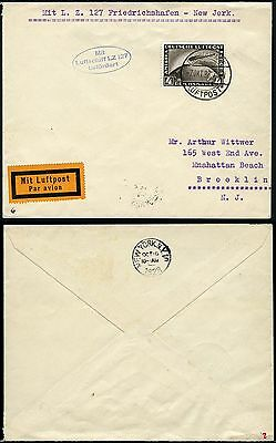 180/Zeppelin Dt. Reich 1928 Amerikafahrt Brief EF 424 Brooklyn Si 21 B