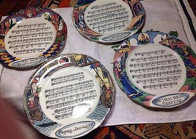 Vintage French Pottery Plates Chansons Et Rondes Set Of Four Fayenceries