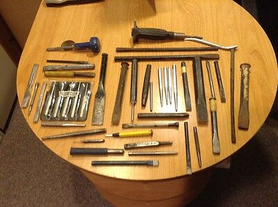 Huge Lot of Cold Chisels and Punches Snap-On,Craftsman,Anchor ect