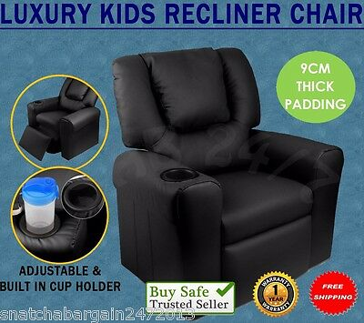 Kids Room Luxury Padded PU Leather Recliner Arm Chair TV Music Lounge Sofa Black