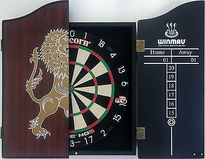 Unicorn HD 2 HD2 Competition Dart Board Rosewood LION Wooden Cabinet + 6 Darts