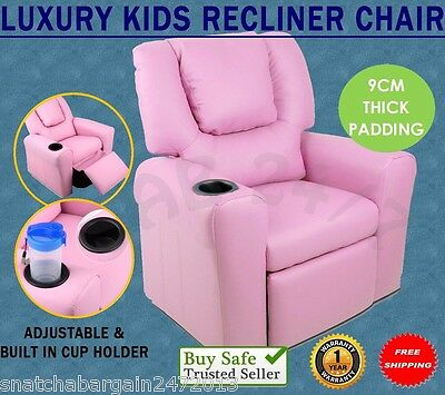 Kids Room Luxury Padded PU Leather Recliner Arm Chair TV Music Lounge Sofa Pink
