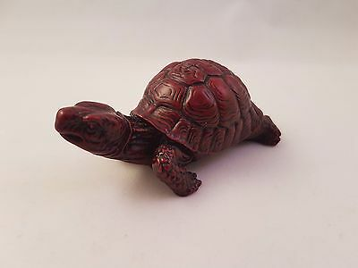 Red and Black Resin Turtle Tortoise Figurine Ornaments From Singapore