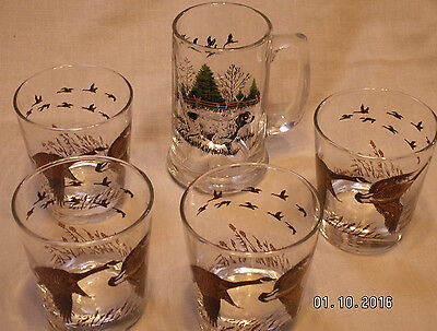 1 English Setter On Point Glass Tankard & 4 Glasses With Flying Geese Pheasants