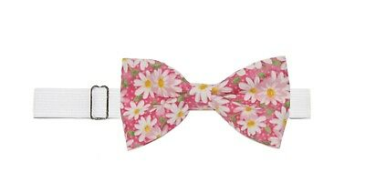 Boys (6 -11 Yrs) Daisies Floral Pre Tied Cotton Bow Tie on Elastic Neckband