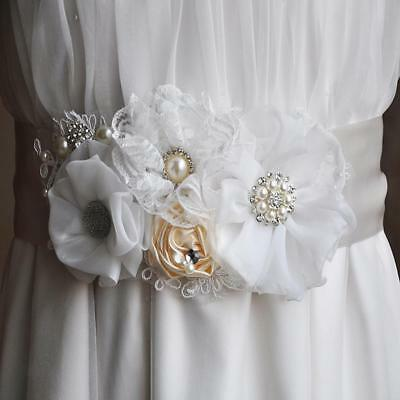 Wedding Bridal Belts Diamante Crystal Pearls Flower Lace Ribbon Sashes