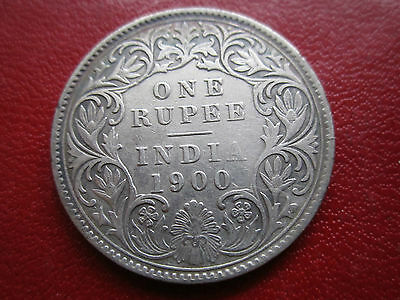India 1 Rupee  British 1900  Victoria Silver Coin